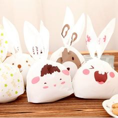 New Sale 20pcs lot rabbit ear cookie bags plastic candy Biscuit Packaging Bag Wedding Candy Gift Bags party Supplies