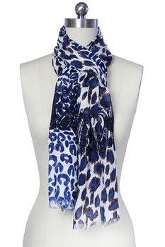 Saachi Blue Mixed Animal Print Scarf