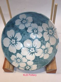 Another flower bowl with rainforest celadon under snow celadon. Love this combo!