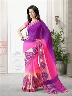 Vinay Fashion 15366 Purple and Pink Georgette Saree