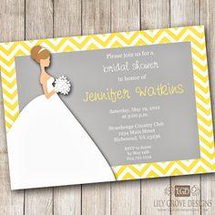 Party Idea Board: Yellow and Gray Chevron Bridal Shower