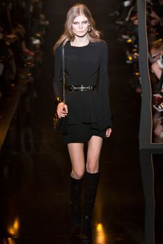 Elie Saab F/W 15/16: I love this simple black long sleeve dress! The belt, chain shoulder bag, and boots add oommpth to the look!