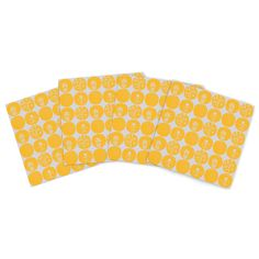 "Anneline Sophia ""Dotty Papercut Yellow"" Circles Gray Indoor/Outdoor Place Mat (Set of 4)"