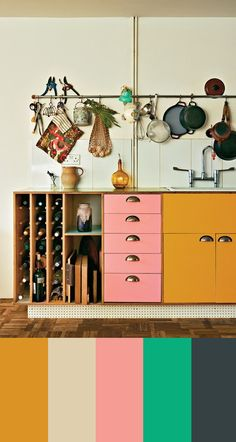 vintage colors from an eclectic kitchen