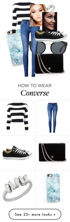 """hadid style"" by soph156 on Polyvore featuring Casetify, Boutique Moschino, Prada, WithChic, Maybelline and Converse"