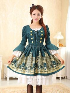 Milanoo Lolita Dress Vintage Printed Lace Up Military Lolita Dress With Flare Sleeves