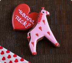 """wanna neck"" giraffe valentine cookies ♥ via Bake at 350"
