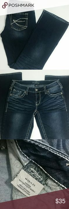 """Silver Jeans Aiko Bootcut Dk Wash 30/33 Silver Aiko Bootcut Jeans. Size 30/33 (see below for measurements). Dark wash with some distressing. White stitching. Gently used condition.   Measurements: (approx) Waist 32"""" Inseam 33"""" Silver Jeans Jeans Boot Cut"""