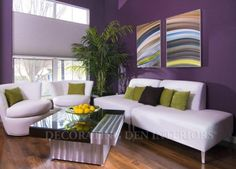 Decorating tip from Decorating Den Interiors: Cool colors - like green, blue and violet - will make your living room appear larger because they seem to push the walls away.