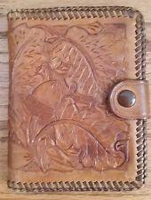 Vintage Handmade Hand Tooled Leather Wallet acorn leaves foliage