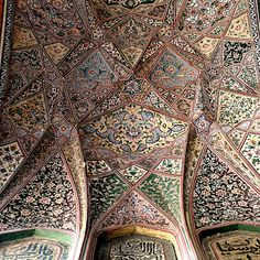 The Wazir Khan Mosque in Lahore, Pakistan, is famous for its extensive… Islamic Architecture, Art And Architecture, Architecture Details, Lahore Pakistan, Mughal Empire, Mosques, Sacred Art, Central Asia, Arabesque