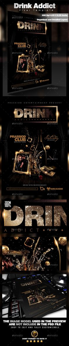 Drink Addict Flyer Template - Clubs & Parties Events