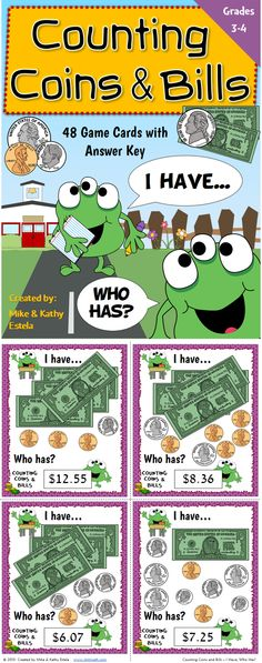 This game provides a great opportunity to engage the whole class in learning how to count coins and bills correctly. Set contains a total of 48 game cards.  $