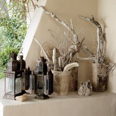 driftwood, twigs & lanterns