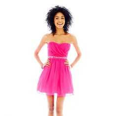 jcpenney - City Triangles® Strapless Tulle Short Dress - jcpenney