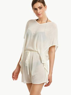 Beige Batwing Sleeve Hollow Back Knitted Jumpsuit