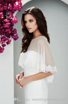 Wholesale Bridal Cape New Lace - Buy Tulle Simple Bridal Wraps/Jackets 2014 Jewel Neckline Romatic Lace Hem Cheap Custom Made Wedding Bolero...