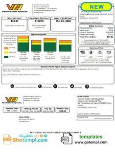 USA Waterloo North Hydro utility bill template