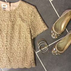 Gold Lace Top Talbots Gold button up the back top. With scallop detail at the bottom. Short sleeves. Made in USA. *Shirt only shoes not included* Talbots Tops Button Down Shirts