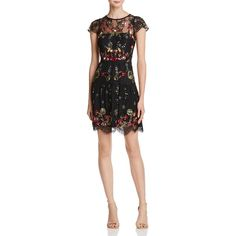 Parker Janina Embellished Lace Dress (£421) ❤ liked on Polyvore featuring dresses, black, sheer dress, floral lace dress, lace dress, party dresses and cocktail party dress