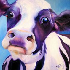 black and white paintings on canvas | ... personable black and white cow just moos right into your heart this