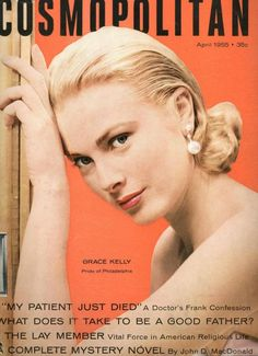 Grace Kelly on the April 1955 cover of COSMOPOLITAN magazine.