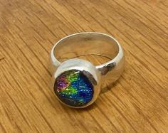 Beautiful Sterling Silver, Green and Blue Dichroic Glass ring, size N - one of a kind