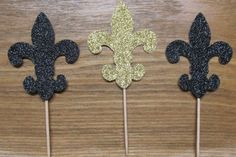 Fleur de Lis Cupcake Toppers Black & Gold  by JewelsPapercrafts