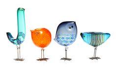 A Group of Handblown Murano Glass Birds (bird/Pulcini), Vistosi, by Alessandro Pianon, Available at FD. Murano Glass, Venetian Glass, Fused Glass, Glass Figurines, Bird Sculpture, Glass Animals, Glass Ceramic, Glass Birds, Vintage Pottery