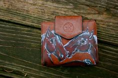 Horse Wallet Lucky Nuzzling  Brown Leather Hand by LuckyHArt