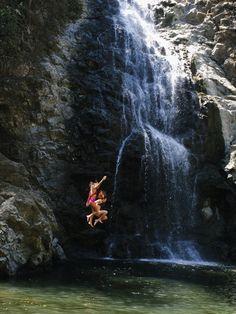 Waterfall jumping Costa Rica