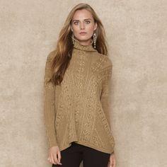 Ralph Lauren Blue Label Metallic Aranknit Sweater in Gold   Lyst