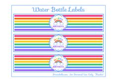 Free Rainbow Party Printable Water Labels