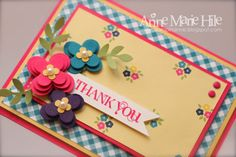 """•Gingham Garden Designer Series Paper •Bird Builder Punch •Floral Fusion Sizzlits •1- 1/4"""" Square Punch •Itty Bitty Shapes Punch Pack •Colors: Melon Mambo, So Saffron, Elegant Eggplant, Island Indigo, Pear Pizzazz and Whisper White •Sentiment is from the (ret.) Curly Cute stamp set...but I never get rid of my sentiment stamps because I use them often."""