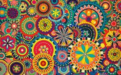 Colorful Pattern Rakenne Mixed Wallpaper