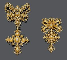 Ramillete de oro y diamantes. España, siglo 18   ///////////  DIAMOND CORSAGE ORNAMENTS, Spain, 18th century.Yellow gold