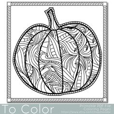 Patterned Pumpkin Coloring Page for Adults, Instant Download, Coloring Book, Halloween Coloring Sheet, Digital Stamp, ColoringGrownups