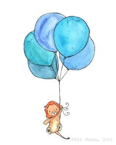 Lion Balloons 8x10 Archival Print Children's by trafalgarssquare, $20.00