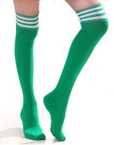 HDE Women's Over-Knee Thigh High Athletic Soccer Rugby Football Sport Tube Socks (Green)