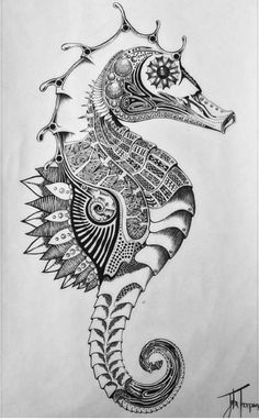 Seahorse....One of my best drawings by far check out my instagram @jt.artt #seahorse #tattoo