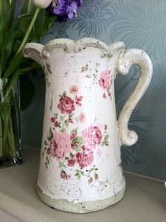 Shabby Chic Pink Rose Jug With Scalloped Edge
