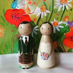 Wedding Cake Topper Wooden Peg Dolls People Traditional Scottish Celtic Kilt African Shabby Chic Vintage Bride and Groom Figurine