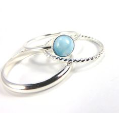 Larimar Rings Silver Larimar Rings Silver Stacking by AWildViolet