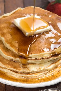 This is the BEST ever Fluffy Pancakes Recipe! It's our go to recipe for pancakes - they're perfect every time! Make these pancakes whenever you want a homemade pancake without using a mix.