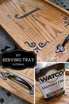 DIY Serving Tray. An easy project. Very little cutting to be done since I bought the oak boards from Lowes. Check out this easy step-by-step tutorial.
