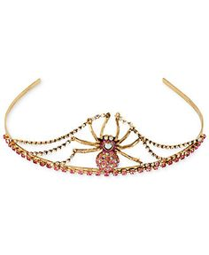 Betsey Johnson Tiara, Gold-Tone Pink Crystal Spider Tiara - Fashion Jewelry - Jewelry & Watches - Macy's