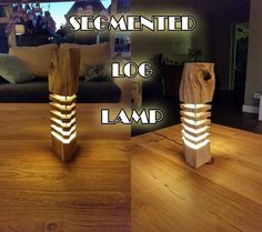 Picture of Segmented Log Lamp Wood Projects, Woodworking Projects, Projects To Try, Got Wood, Wood Lamps, Art Deco Design, Cool Lighting, Wood Crafts, Inspiration