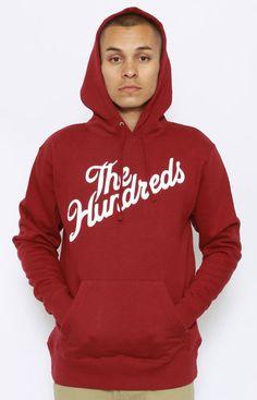 THE HUNDREDS, FOREVER SLANT PULLOVER HOODIE - RED