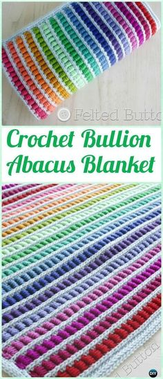 Crochet Stitches Crochet Bullion Stitch Abacus Blanket Pattern - Crochet Bullion Stitch Free Patterns - Crochet Bullion Stitch Free Patterns: Bullion Stitch Flowers, Square, Coasters, Blankets, fingerless gloves and video instruction Crochet Afgans, Knit Or Crochet, Baby Blanket Crochet, Crochet Crafts, Crochet Baby, Crochet Projects, Crochet Blankets, Baby Blankets, Scarf Crochet