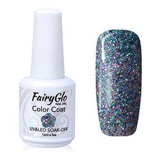 FairyGlo Gelpolish Long-lasting Gel Nail Polish Soak Off UV LED Nail Art Eco-friendly Manicure Lacquer 15ml Glitter Smoky Grey 1866